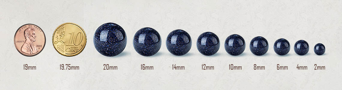 Bead sizes compared to coins