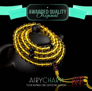 Golden Amber Bead Necklace