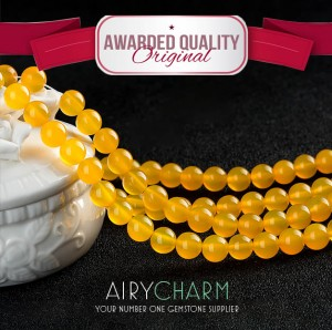 Yellow Agate Bead Necklace