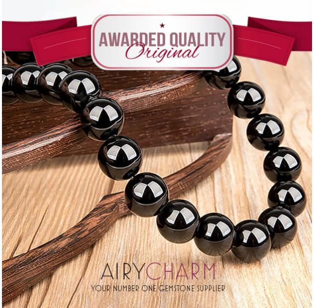 Black Agate Bead Bracelet