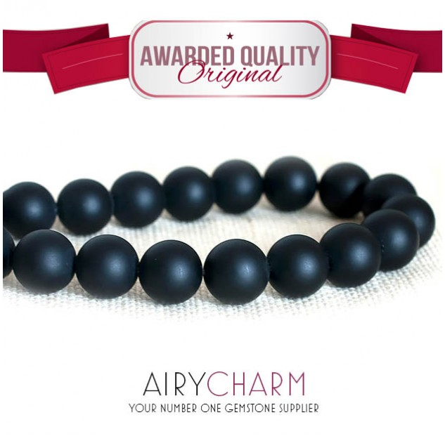 Matte Black Agate Bead Bracelet