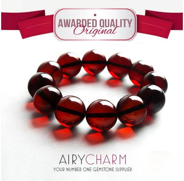 Blood Amber Bead Bracelet
