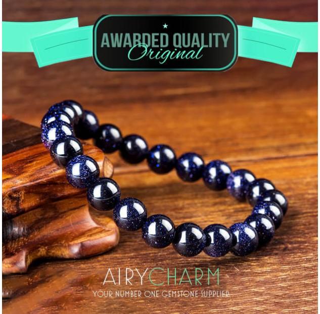 Blue Sandstone Bead Bracelet