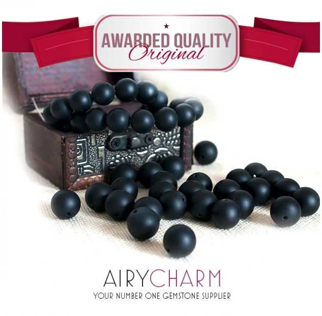 Matte Pure Black Agate Loose Beads