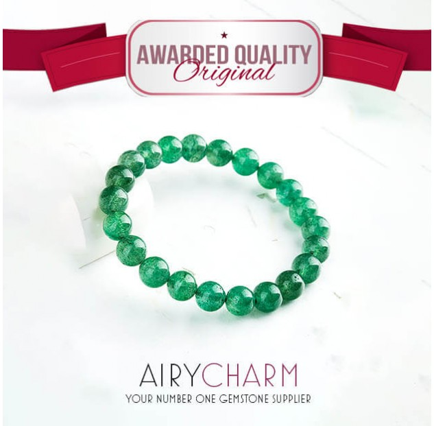 Green Strawberry Quartz Bead Bracelet