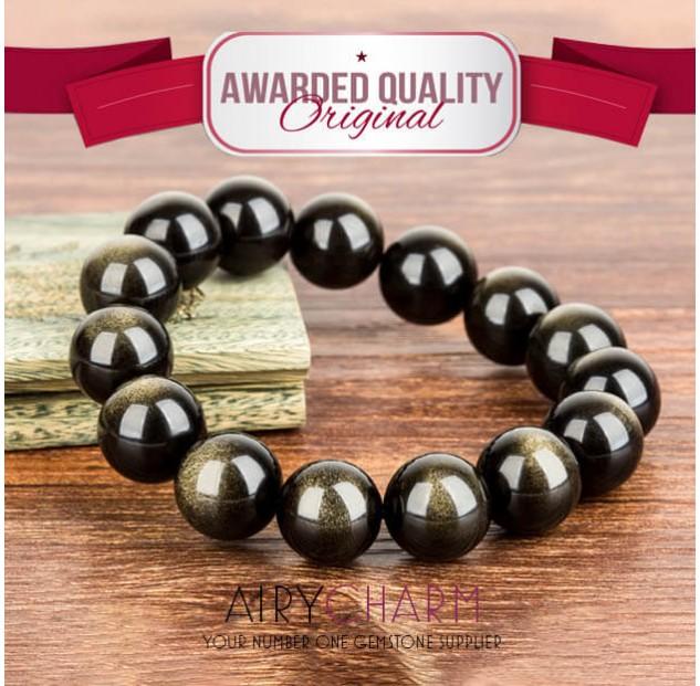 Obsidian Cat's Eye Bead Bracelet