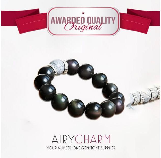 Obsidian Rainbow Eye Bead Bracelet