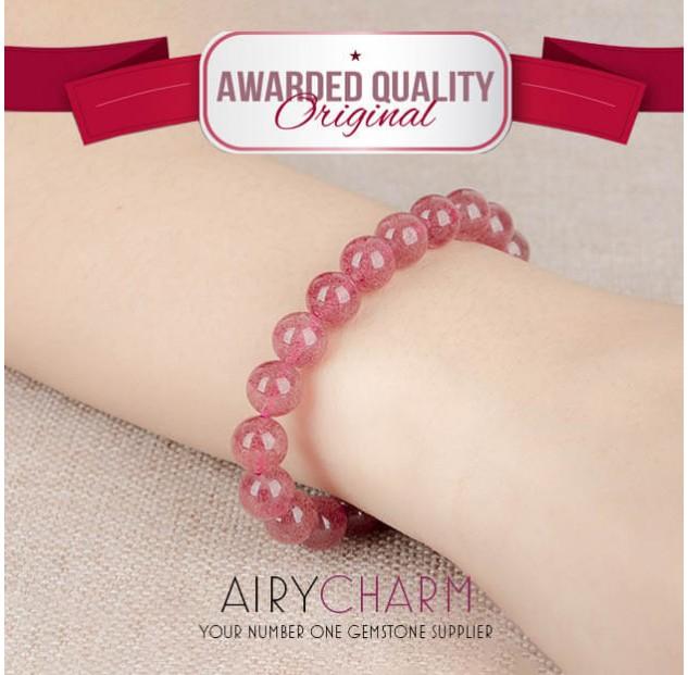 Strawberry Quartz Bead Bracelet