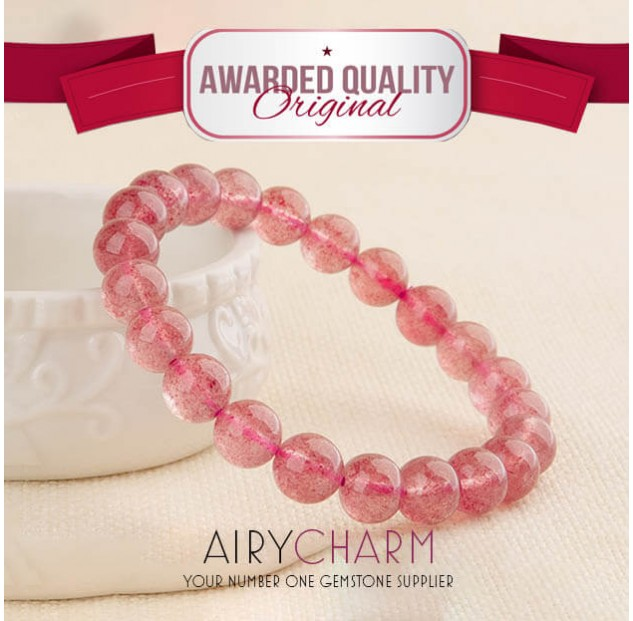 Strawberry Quartz Bead Bracelet